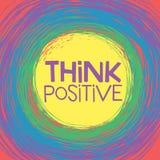 Pensez la carte positive Images libres de droits