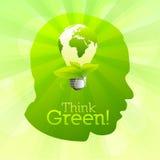 Pensez la silhouette verte de vecteur Photographie stock libre de droits