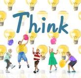 Pensez le concept attrayant de pensée d'inspiration réfléchie Photos libres de droits
