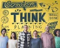 Pensez le concept créatif de pensée de stratégie de planification Photographie stock