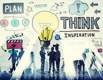 Pensez le concept d'innovation de vision de solution de la connaissance d'inspiration Images libres de droits