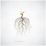 Pensez le concept vert L'arbre de la pousse verte d'idée se développent sur la tête humaine Image libre de droits