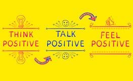 PENSEZ LE POSITIF, PARLEZ LE POSITIF, POSITIF DE SENSATION Expressions inspirées sur le fond jaune lumineux illustration libre de droits