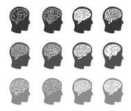 Pensez les graphismes Cerveau de pensée dans des icônes de tête humaine Images libres de droits