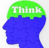 Pensez les idées de Brain Profile Shows Concept Of Image libre de droits