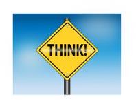 Pensez (panneau routier) Photos libres de droits