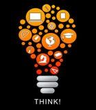 Pensez que l'ampoule représente la source d'énergie et lumineux illustration libre de droits