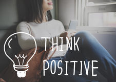 Pensez que l'optimisme d'attitude positive inspirent le concept Photo stock