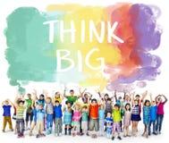 Pensi il concetto creativo di ottimismo di ispirazione di grande atteggiamento immagine stock