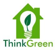 Pensi il verde nella casa Fotografia Stock Libera da Diritti