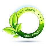 Pensi l'icona verde Fotografia Stock