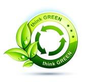 Pensi l'icona verde Immagine Stock
