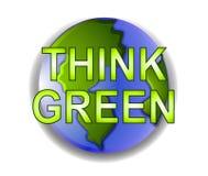 Pensi l'icona verde della terra del pianeta illustrazione di stock