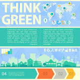 Pensi l'illustrazione verde di vettore con la cittadina Fotografie Stock