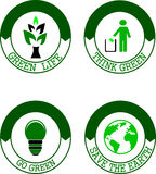 Pensi l'insieme verde di logo Immagini Stock