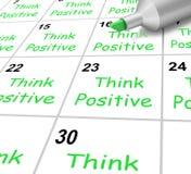 Pensi l'Outlook luminoso di mezzi positivi del calendario e Immagini Stock Libere da Diritti