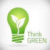 Pensi la lampadina verde di eco Fotografia Stock