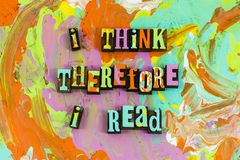 Pensi la lettura quindi colta fotografie stock