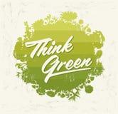 Pensi verde - sfera organica di Eco di vettore dell'elemento creativo di progettazione bio- con vegetazione Immagini Stock