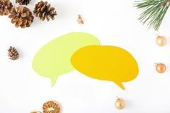 Pensieri dell'icona, albero di Natale del ramo, pigna, arancia, Christm Fotografie Stock