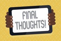 Pensieri di finale del testo di scrittura di parola Il concetto di affari per dovrebbe essere ultime frasi all'interno della vost illustrazione di stock