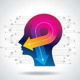 Pensieri ed opzioni Illustrazione di vettore della testa con le frecce illustrazione vettoriale