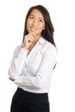 Pensiero asiatico della donna di affari Immagini Stock