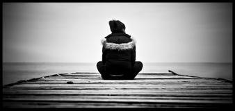 Pensiero in bianco e nero Fotografia Stock Libera da Diritti