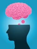 Pensiero capo del cervello della siluetta Immagine Stock Libera da Diritti