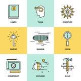 Pensiero creativo ed icone piane di invenzione Fotografia Stock Libera da Diritti