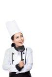 Pensiero del cuoco unico della giovane donna Fotografia Stock