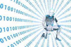 Pensiero del robot enorme nelle informazioni digitali del tunnel illustrazione di stock