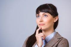 Pensiero della donna di affari Fotografie Stock Libere da Diritti