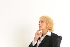 Pensiero della donna di affari Fotografia Stock Libera da Diritti