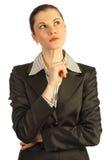 Pensiero della donna di affari. Isolato su bianco Immagini Stock