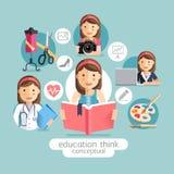 Pensiero di istruzione concettuale Libri della tenuta della ragazza illustrazione di stock