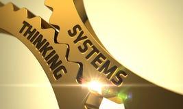 Pensiero di sistemi sulle ruote dentate dorate 3d Immagini Stock Libere da Diritti