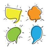 Pensiero e discorso disegnati a mano bubbles01 Fotografia Stock Libera da Diritti
