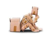 Pensiero seduto carattere della scatola Fotografie Stock