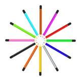 Pensil coloreado cruce giratorio Foto de archivo