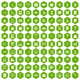 100 pensil icons hexagon green. 100 pensil icons set in green hexagon isolated vector illustration Stock Photos