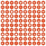 100 pensil icons hexagon orange. 100 pensil icons set in orange hexagon isolated vector illustration stock illustration