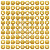 100 pensil icons set gold. 100 pensil icons set in gold circle isolated on white vectr illustration Vector Illustration