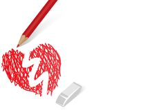 Pensil painting heart Royalty Free Stock Images