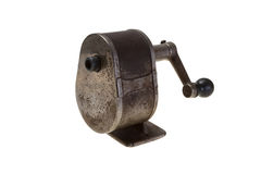 Pensil sharpener. Old pensil sharpener made of steel isolated with a path Stock Photography