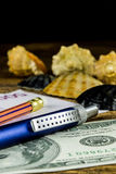 Pensil in travel composition with fotocamera,money and other acsessories Royalty Free Stock Images