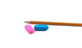 Pensil and two erasers Stock Images