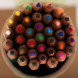 Pensils multicolores en la caja Imágenes de archivo libres de regalías