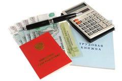 Pensioendocumenten, geld, calculator en pen Royalty-vrije Stock Foto