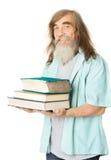 Pensionär med böcker Gamal manutbildning, fläder med skägget Arkivbild